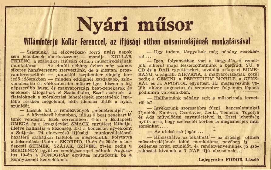 A 7NAP cikke az Omega szabadkai fellépéséről
