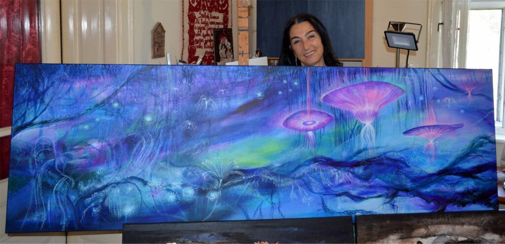 Dávid Júlia és az Alfa Centauri világ – 65x200 akril, vászon