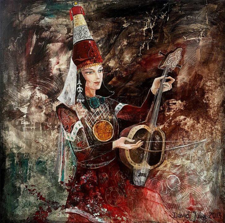 Bibigul dombrán ősi dalt játszik – 80x80 akril, vászon