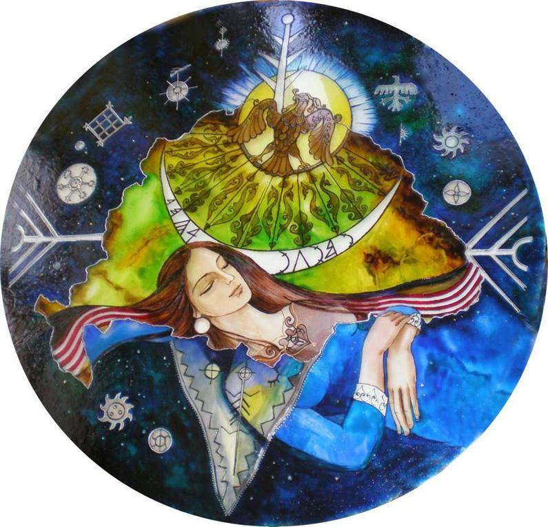 A turulmadár álmot sugall, amiben Emese méhéből folyó ered, mely idegen földön terebélyesedik ki – 80 cm üvegfestmény