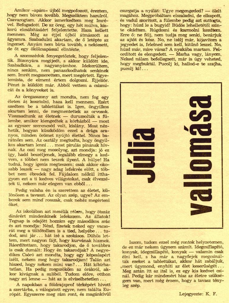 Kollár Ferenc tényfeltáró írás 1969